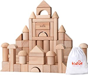 KAJA Classic Wooden Building Blocks Sets 80 Pcs Natural Blocks for Toddlers Educational Preschool Learning Toys with Carrying Bag (Burlywood)
