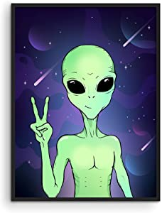 Haus and Hues Trippy Alien Poster & Alien Decor - Edgy Posters Trippy Aliens Poster Alien Wall Decor & Cool Posters for Room Aesthetic Trippy Posters | Alien Portrait Art Print UNFRAMED 12