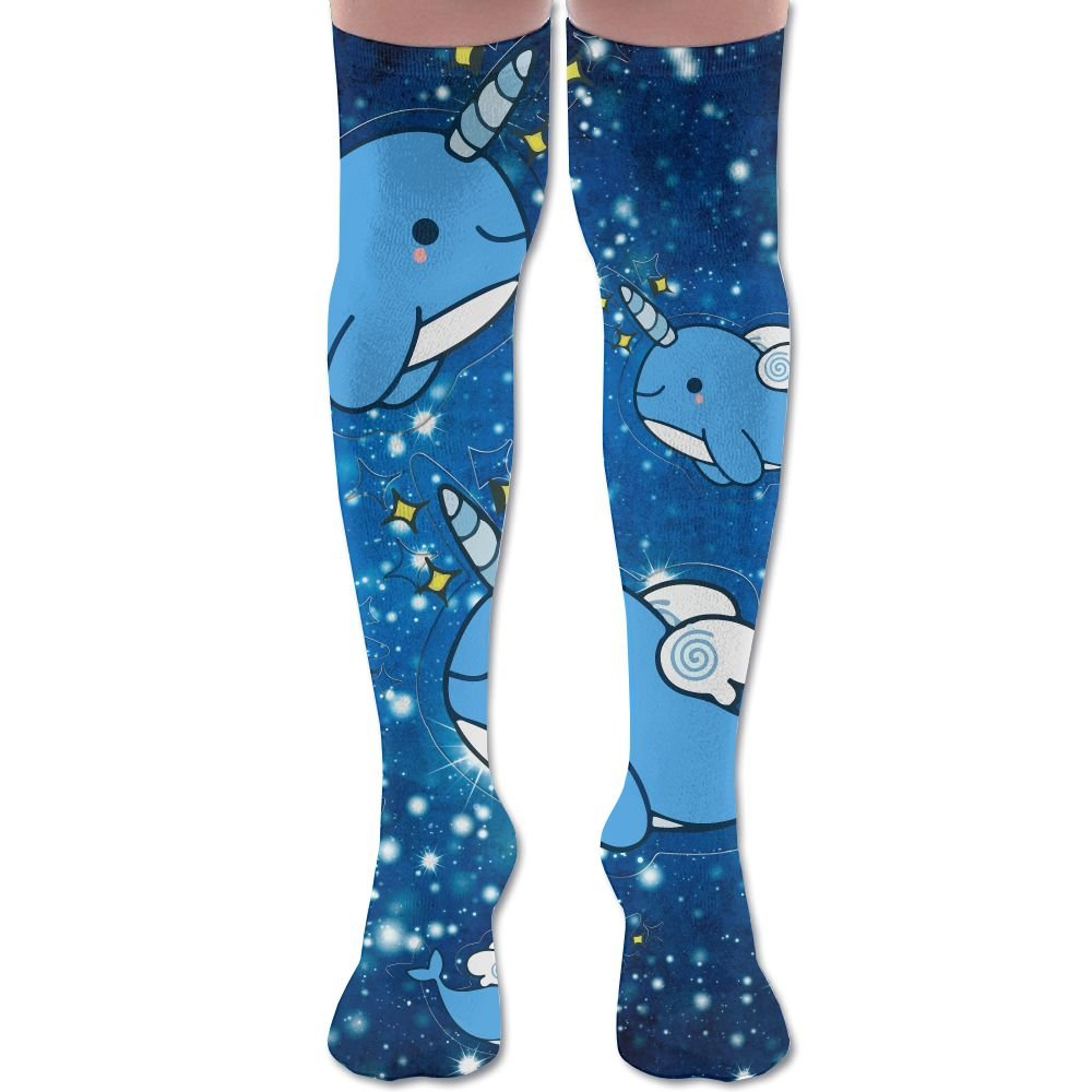 4a31b5b3bcf86 Amazon.com: Narwhals Pattern Cute Space Galaxy Womens Over The Knee High  Leggings Knee High Socks Thigh-High Stockings: Clothing
