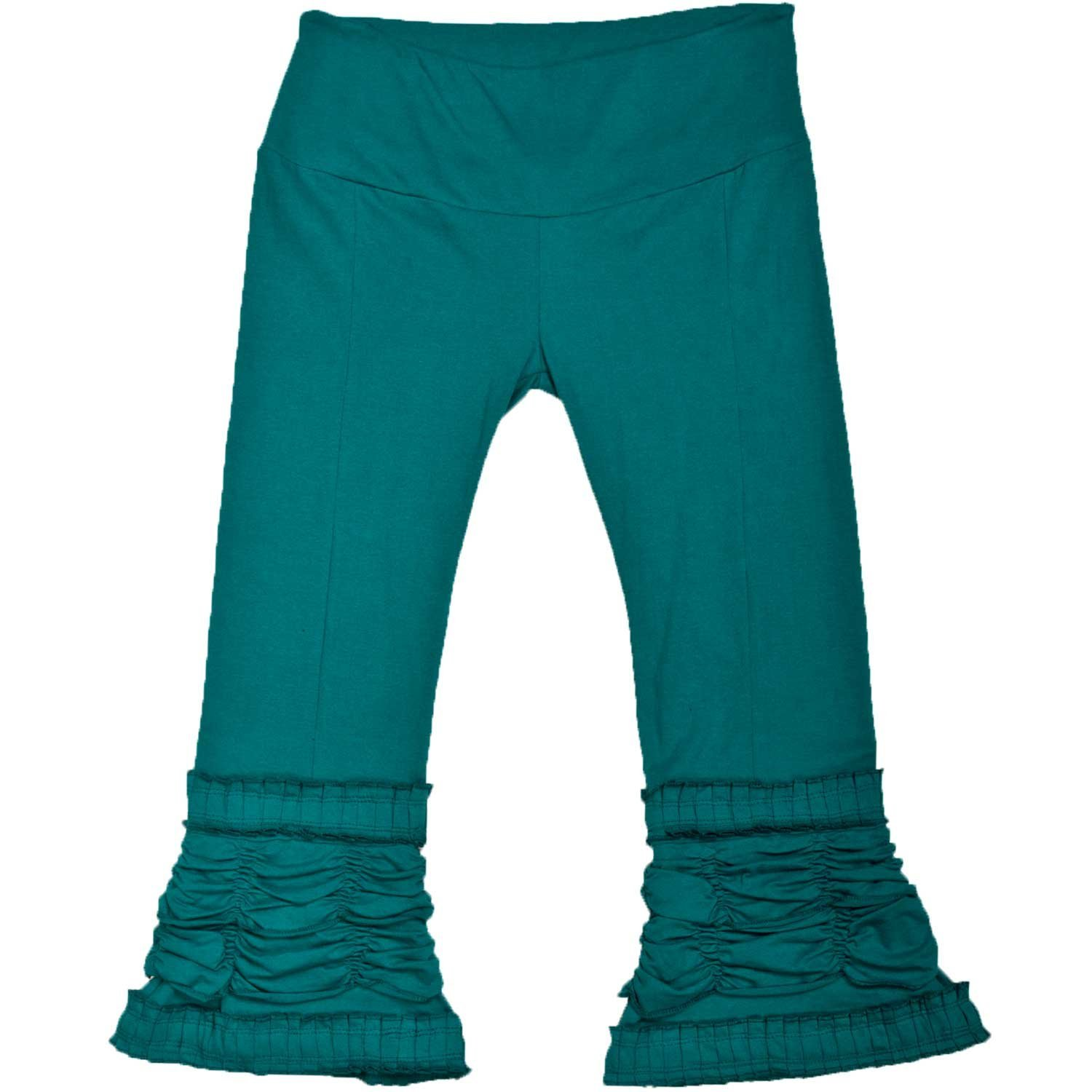 Lady Pirate's Fancy Turquoise Ruffle Ruched Capri Pants - DeluxeAdultCostumes.com