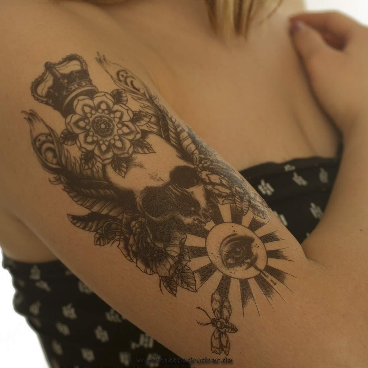 AX50 - Tatuaje Temporal, diseño de Calavera con Ojo de Corona ...