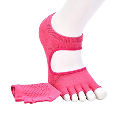 Symboat Femmes Yoga Chaussettes Ouvert 5 Toe Instep Anti-dérapant Silice Gel Respirant Sports Coton Gym