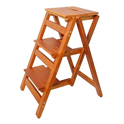 Surprising Amazon Com Lxf Step Stool Folding 3 Step Stool Wooden Gmtry Best Dining Table And Chair Ideas Images Gmtryco