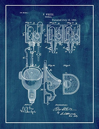 Urinal Patent Print Art Poster Midnight Blue with Border (20' x 24')