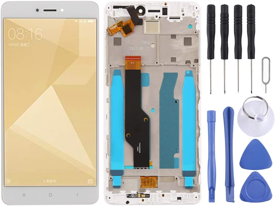 Black MOBILEACCESSORIES for Tang YI MING TENGLIN LCD Screen and Digitizer Full Assembly with Frame for Xiaomi Redmi Note 4X Color : White