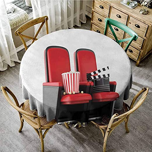 Amazon Com Marilds Movie Theater Fashions Table Cloth 55 Inch 3d Illustration Cinema Concept Clapper Board And Popcorn On Theater Seat Party Decorations Table Cover Cloth Red Black White Home Kitchen