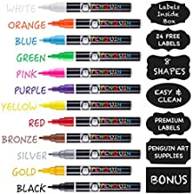 Professional Artist Quality Fine Tip Chalk Markers - Set of 12 Color Liquid Pens Dry Erase + BONUS 24 Chalkboard Stickers