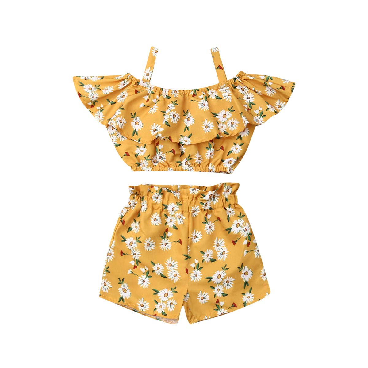 2Pcs Toddler Baby Girls Clothes Halter Ruffle Crop Top Floral Short Pants Summer Outfits Clothing (2-3T,Yellow Daisy)