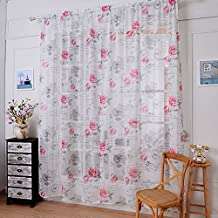 """Paker 2 Pieces Flower Curtains Drape Panel Valance Door Window Curtain Vintage Floral Sheer Scarf for Bedroom Living Room (57""""x59"""", Rose)"""