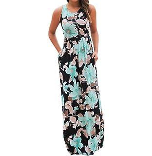 Tomatoa Kleider Damen, Frauen Ärmelloses Sommerkleid Strandkleider  Blumenmuster lang Maxi Kleid mit Taschen 6201949440