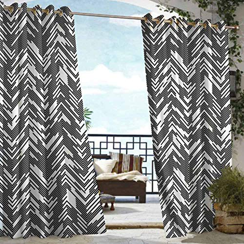 DILITECK Drape for Pergola Curtain Black and White Artistic Chaotic Chevron Herringbone Pattern with Short Lines Modern Grid Waterproof Patio Door Panel W84 xL72 Black White