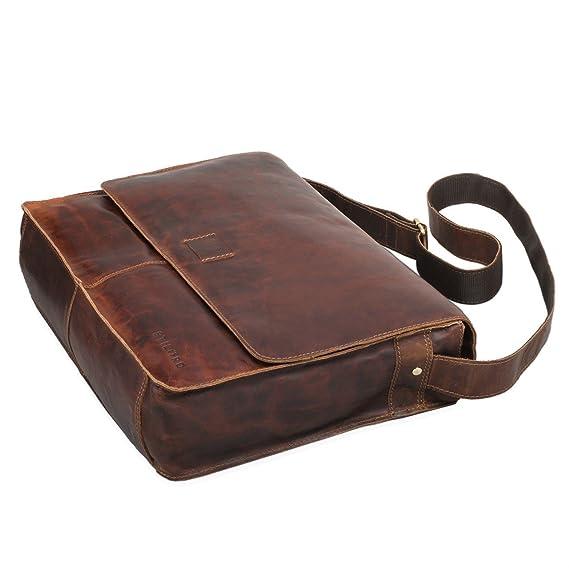 STILORD 'Hannes' Sac à l'épaule homme cuir brun grand sac à bandoulière vintage sac messager sac pour l'université collège sac d'affaires laptop tablette 13,3 pouces, Couleur:mocca - marron foncé