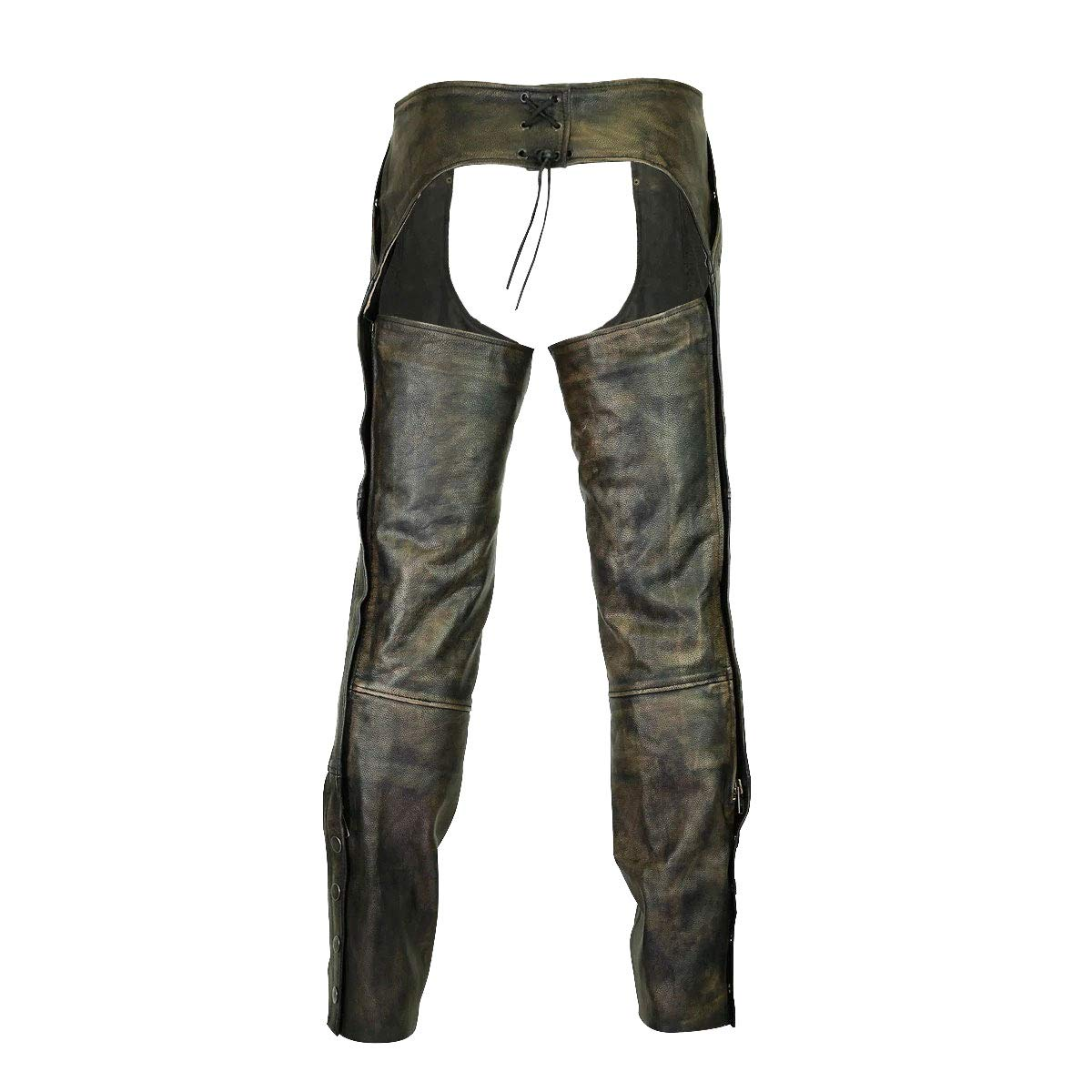 High Mileage 4 Pocket Distressed Brown Leather Chap with Removable Liner