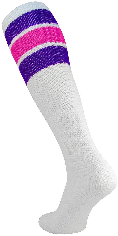 TCK レトロ3ストライプ チューブソックス B01L7A5IBW Large|Purple/Hot Pink Purple/Hot Pink Large