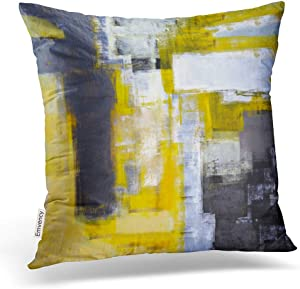 Emvency Throw Pillow Covers Busy Grey and Yellow Abstract Art Decor Pillowcases Polyester 20 X 20 Inch Square Hidden Zipper Home Cushion Decorative Pillowcase