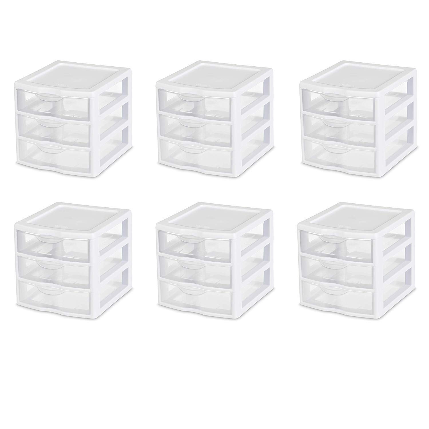 STERILITE Small 3 Drawer Unit, White Frame with Clear Drawers, 6 Pack by STERILITE