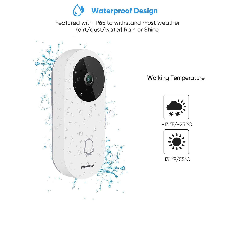 wei/ß 960P HD WLAN-T/ürklingel Zwei-Wege-Audio Talk und App-Steuerung f/ür iOS und Android Sicherheitskamera mit gratis Innen-Chime Nachtsicht wasserdicht Cloud-Speicher IP65 Smart-T/ürklingel