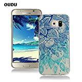OuDu Silicone Case for Samsung Galaxy S6 Soft TPU Rubber Cover Flexible Slim Case Smooth Lightweight Skin Ultra Thin Shell Creative Design Cover - Blue Lotus