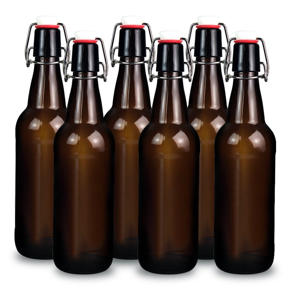 YEBODA 16 oz Amber Glass Beer Bottles for Home Brewing with Flip Caps, Case of 6