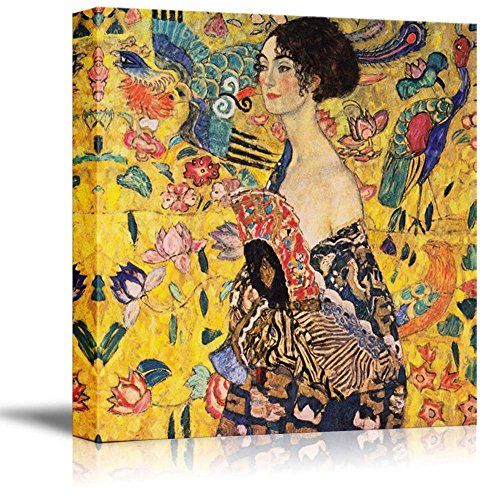 Famous Art Reproductions - Woman with Fan (or Lady with Fan) by Gustav Klimt - Canvas Wall Art Famous Fine Art Reproduction| World Famous Painting Replica on Wrapped Canvas Print Modern Home Decor Wood Framed & Ready to Hang - 24