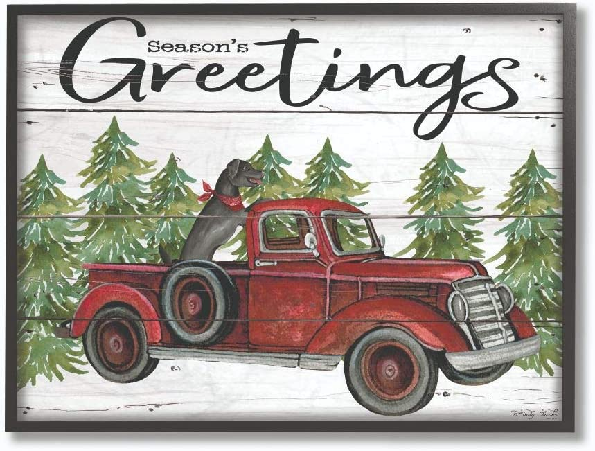 Stupell Industries Seasons Greetings Dog in a Red Truck on Planks Black Framed Wall Art, 16 x 20, Multi-Color