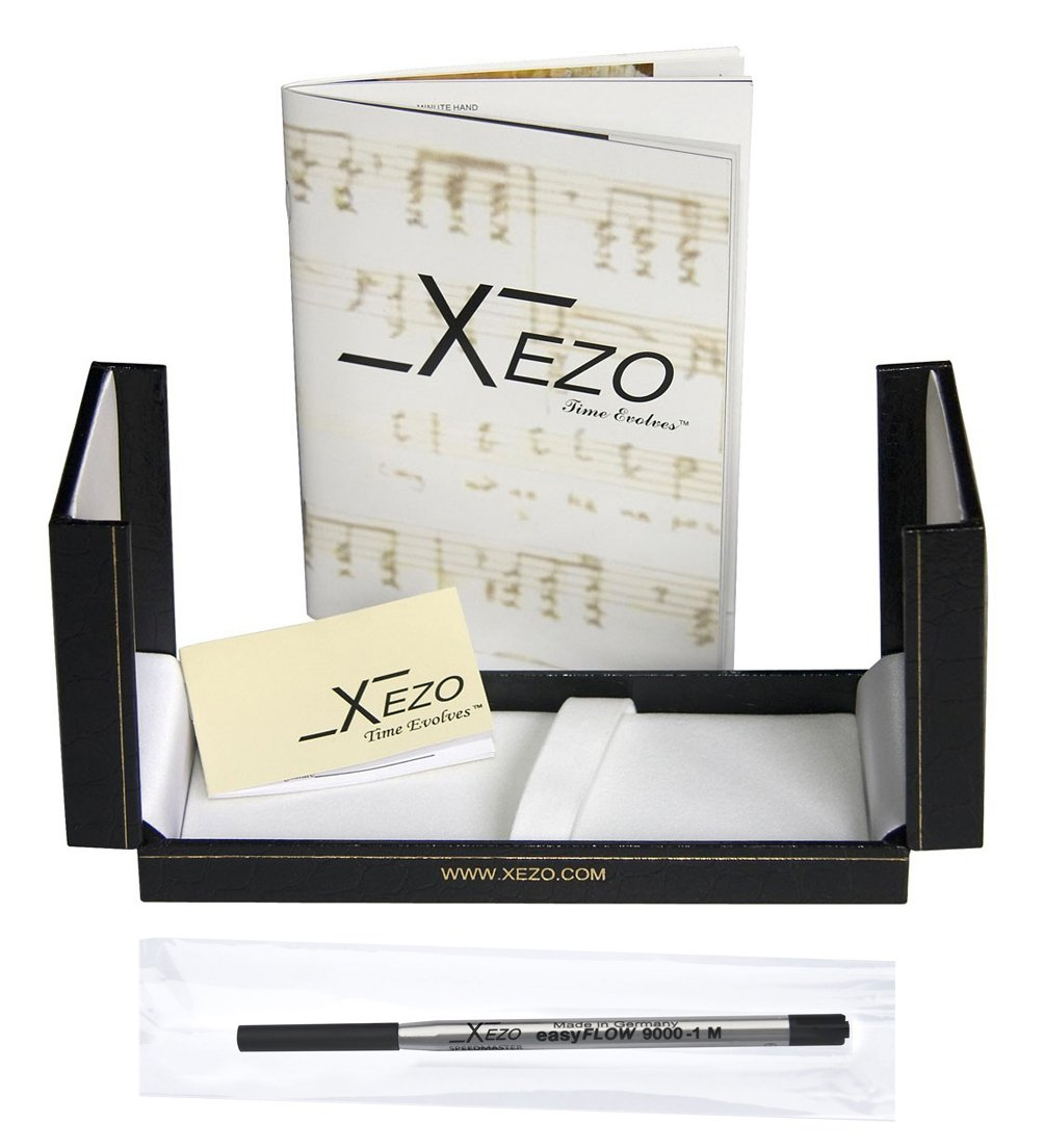 Xezo Legionnaire 18-Karat Gold, Platinum Plated Twist-Action Medium Point Ballpoint Pen. Diamond-Cut Engraved. Finely Hand-Etched. Individually Numbered. A Unique Gift (Legionnaire 500 B) by Xezo (Image #3)