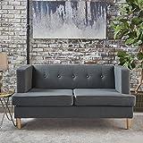 Muraco Mid Century Modern Fabric Loveseat (Dark Grey)