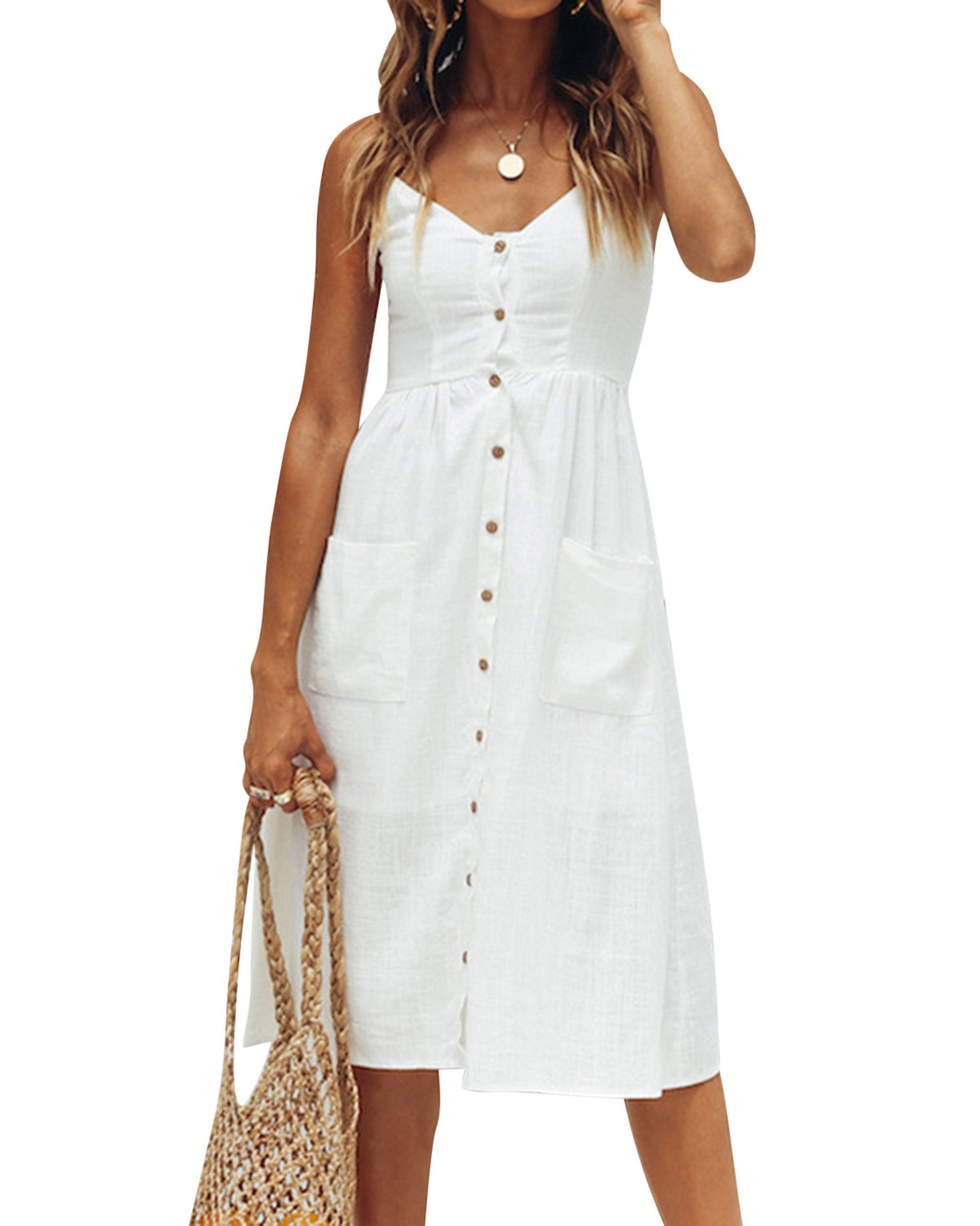 Jacansi Women Bohemian Sleeveless Backless Knee-Length Button up Midi Dress with Pocket White L by Jacansi (Image #2)