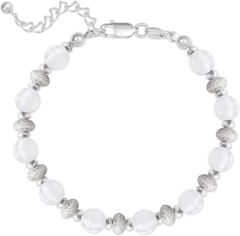Pulsera de plata 925 y bolas de jade blanco – Longitud 20 cm – Mujer