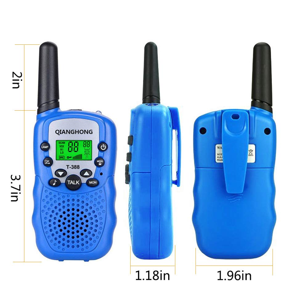 Qianghong T3 Kids Walkie Talkies 3-12 Year Old Children's Outdoor Toys Mini Two Way Radios UHF 462-467 MHz Frequency 22 Channels (Pink&Yellow&Blue) by Qianghong (Image #4)