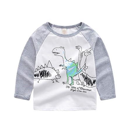 Mitlfuny Ropa de Bebé Primavera Otoño Camisas para Niñas Niños Camisetas de Manga Larga Dinosaurio Impresión Dibujos Animados Blusas Cuello Redondo Cosiendo ...