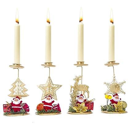Christmas Tree Candle Holder.Amazon Com Swovo Christmas Candle Holder Creative Santa