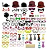 76 PCS Photo Booth Props DIY Kit for Wedding Birthday Reunions Parties Decorations Photobooth Dress-up Accessories & Party Favors (76 PCS)