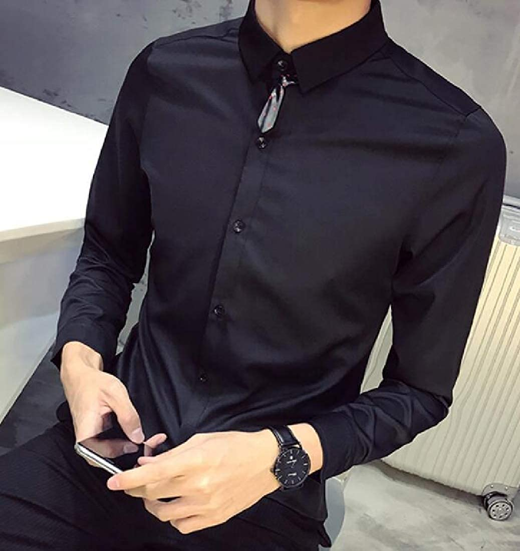 X-Future Mens Long Sleeve Slim Fit Formal Lapel Solid Color Button Down Dress Work Shirt