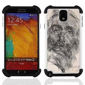 SAMSUNG Galaxy Note 3 III / N9000 / N9005 - 3 en 1 impreso colorido de Altas Prestaciones PC Funda chaqueta Negro cubierta gel silicona suave (Dessin au crayon Portrait Old Man)