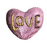 Mermaid Pillow with Pillow Insert By U-miss, Two-color Decorative Heart Shape Reversible Sequin Pillow 13''×15'' (Heart-Shaped, Pink-Gold)