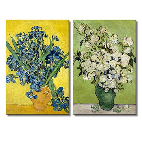 Still Life: Vase with Pink Roses Irises by Vincent Van Gogh Oil Painting Reproduction in Set of 2 x 2 Panels