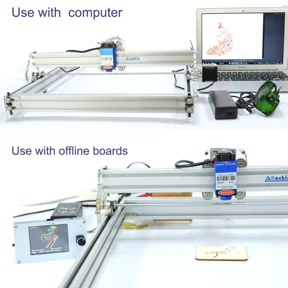 HUKOER 40X50 CM Kits de grabador l/áser CNC de bricolaje M/áquina de grabado l/áser de escritorio con USB de 12 V 2500MW impresora l/áser de potencia ajustable Talla y corte Carcasa de para tel/éfono