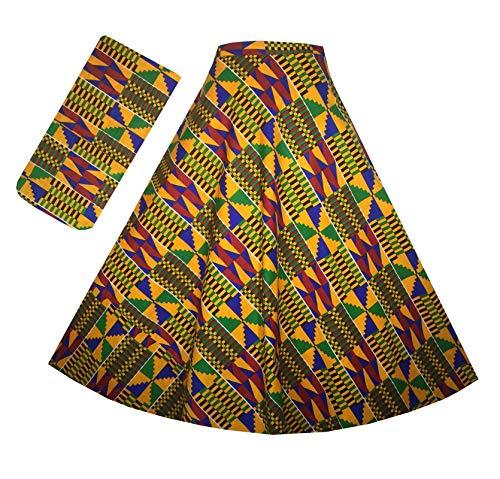 Decoraapparel Womens Wrap Around Skirt African Dashiki Ankara Maxi One Size (Yellow Green P04) ()