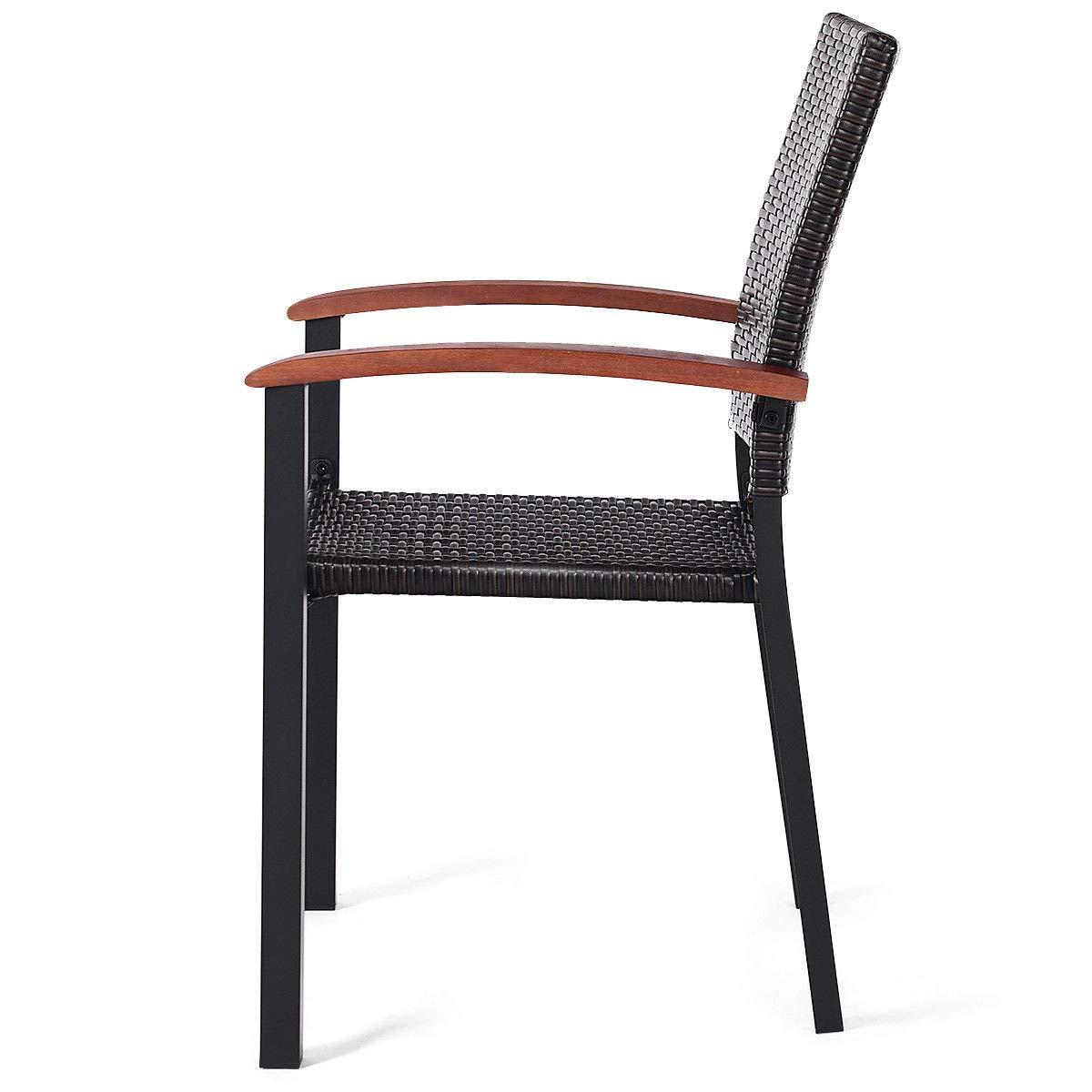 Amazon.com: 4 sillas de comedor de ratán para patio ...