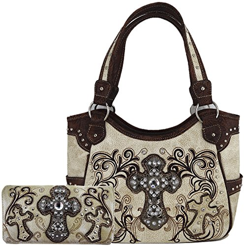 (Western Style Rhinestone Cross Totes Purse Concealed Carry Handbags Women Country Shoulder Bag Wallet Set (Beige Set))