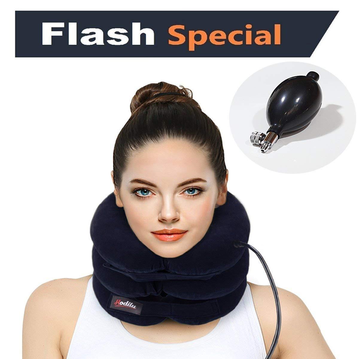 Hodilu Cervical Neck Traction Device - Pain Relieving Remedy Chronic Neck & Shoulder Alignment Pain - Inflatable Neck Stretcher Collar Pillow + Pump Bonus