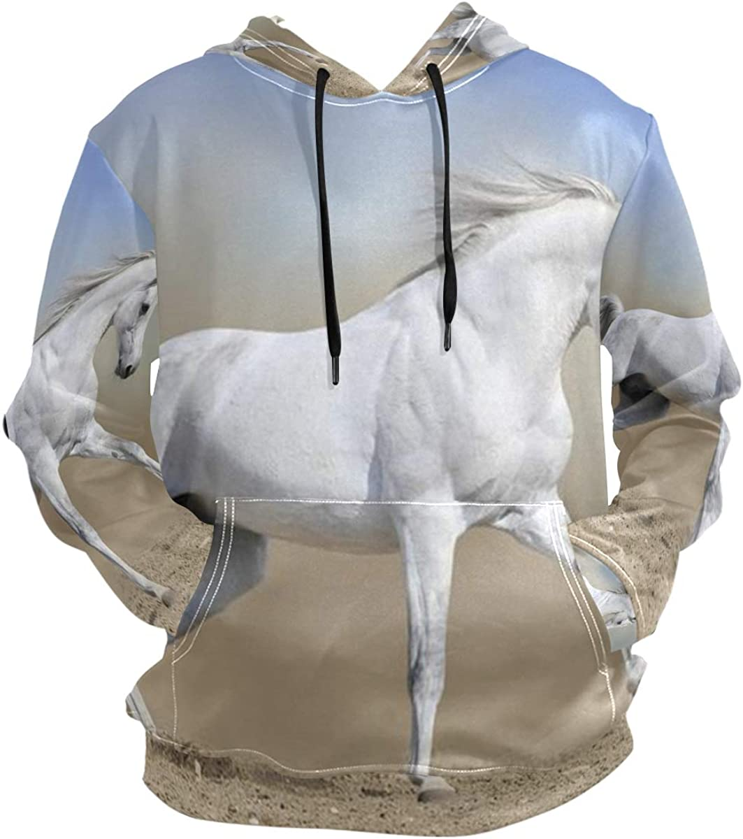 SLHFPX Cute Funny Horse Animal Hoodie 3D Pullover Hooded Long Sleeve Workout Sweatshirts