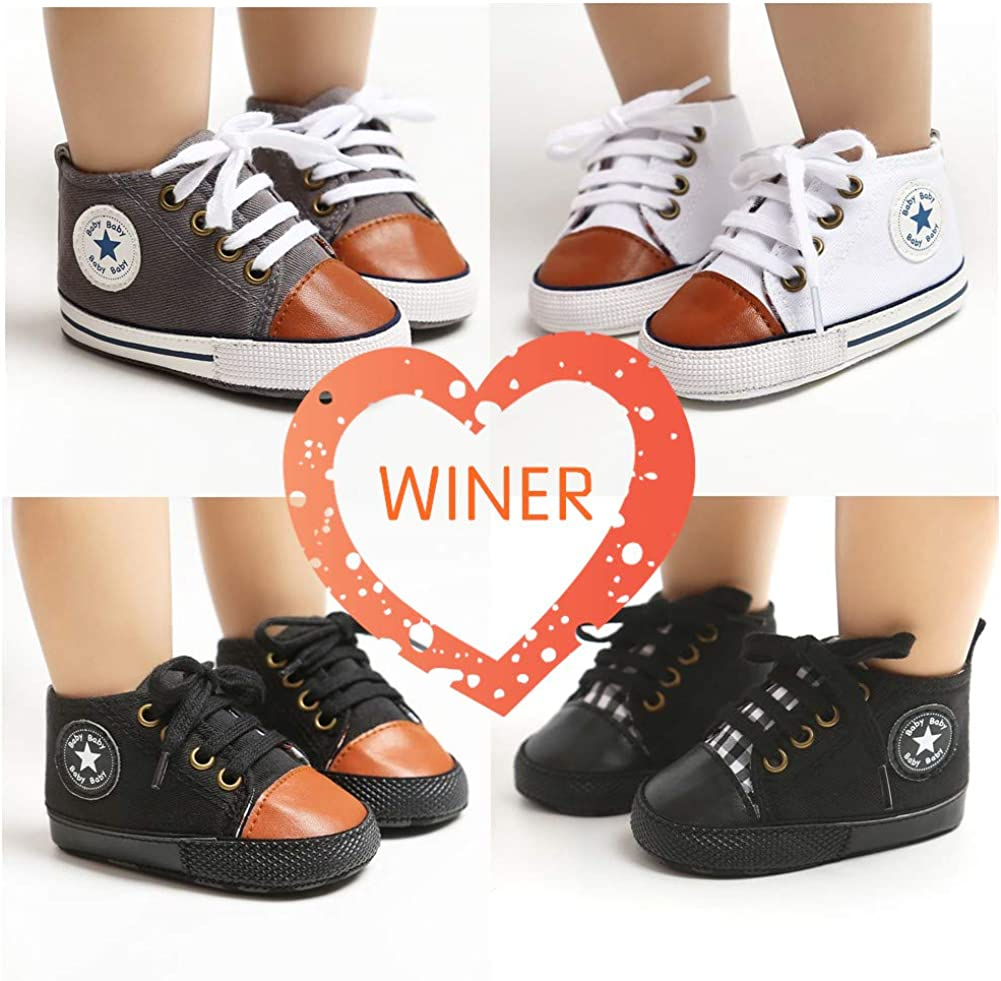 WINER Infant Baby Boy Girl Canvas Sneakers Soft Sole Anti-Slip Star High Top Newborn First Walker Shoes