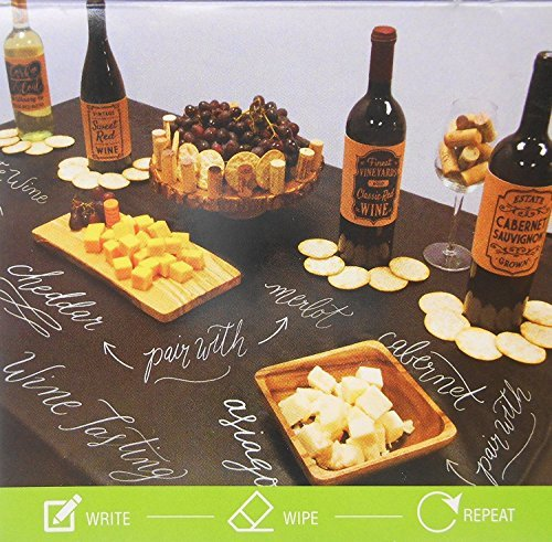 Black Chalkboard Vinyl Tablecloth with Flannel Backing -Perfect for Customizing Your Parties - Housewarming, Birthdays, Engagements, Anniversaries, Weddings and More! (60 inch dia. Round) ()