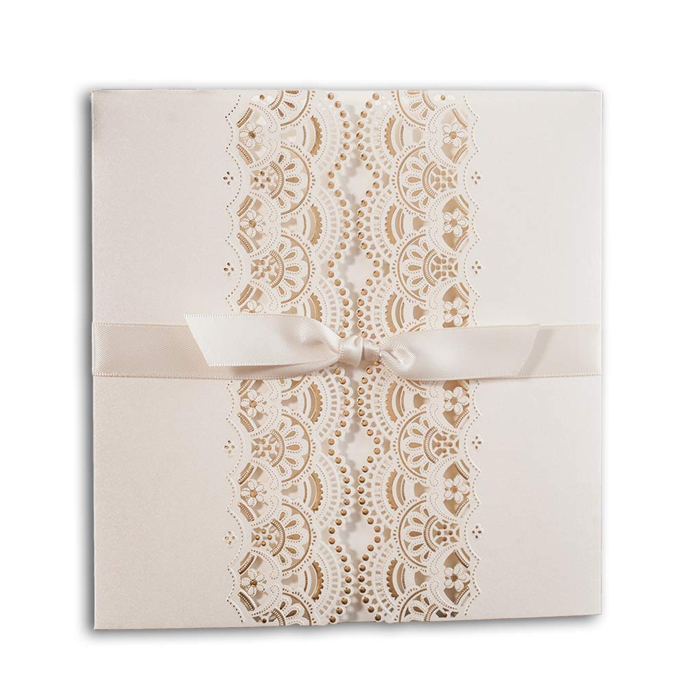Foil Wedding Invitations.1 Wishmade White Ivory Gold Foil Wedding Invites With Envelope Rsvp And Thank You Card