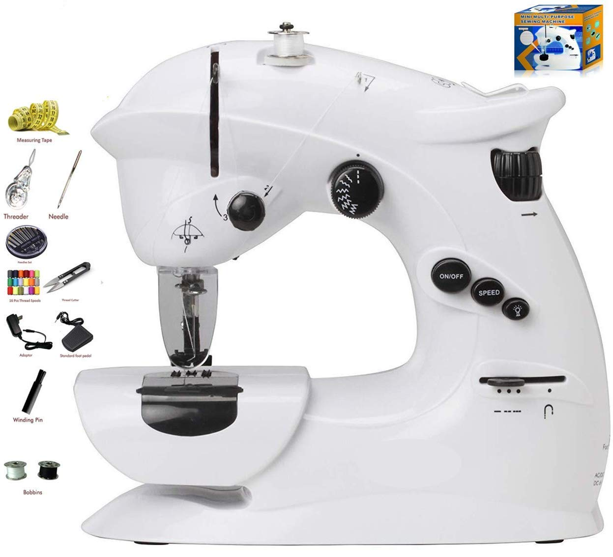Kiwilon Sewing Machine for Home with Adapter, Foot Pedal