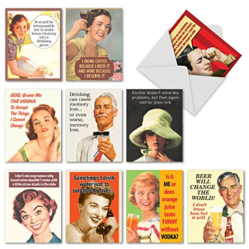 10 Retro Toasts Funny Happy Birthday Cards with Envelopes (4 x 5.12 Inch) - Vintage Assortment of Boxed Bday Note Cards for Dad, Mom, Friend - Beer, Wine, Liquor Humor -