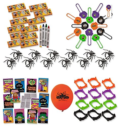 [84 Piece Mega Halloween Toy Novelty Assortment; 12 Halloween Disc Shooters, 12 Halloween Crayons, 12 Vampire Teeth, 12 Halloween Fun & Games Books & 36 Plastic Spider] (Custom Costumes Jewelry Wholesale)