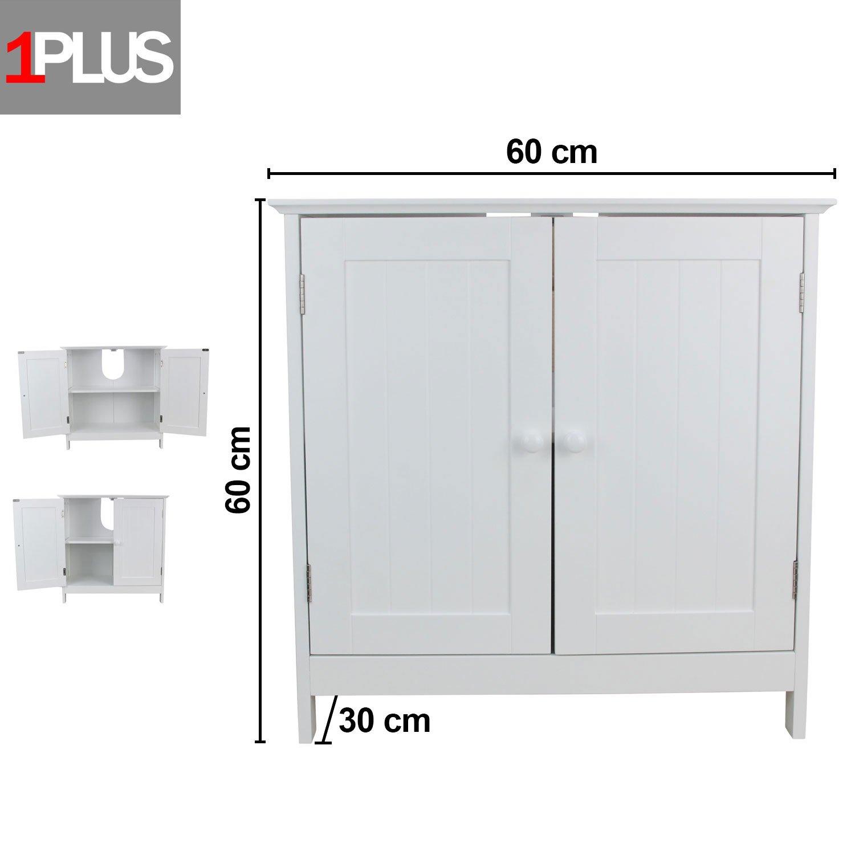 1PLUS Waschbeckenunterschrank Marbella aus Holz in 2 Größen, Weiß ...